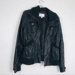 Xhilaration LARGE vegan leather jacket zip front